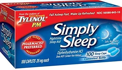 Tylenol Simply Sleep Nighttime Sleep Aid (25 mg), 100-Count Caplets (Pack of 1)