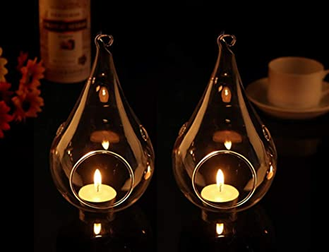 6 X Clear Glass hanging teardrop pear bauble tealight candle holder Christmas