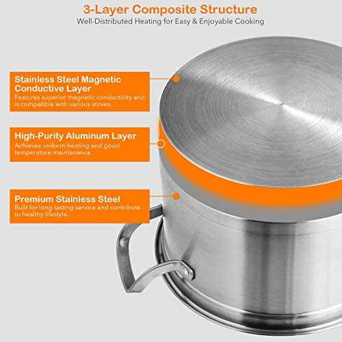 51lhileZeuL. AC COSTWAY 3-Tier Stainless Steel Steamer for Cooking, Boiler Pot with Handles on Both Sides, Transparent Tempered Glass Lid, Free Combination Design, for Induction, Radiant-Tube Furnace    Product Description