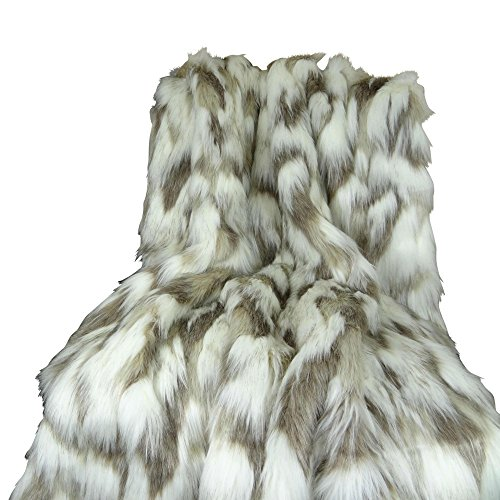 - Thomas Collection Ivory Faux Fur Throw Blanket & Bedspread - Tibet Fox Fur - Ivory Beige Luxury Faux Fur - Throw Blanket - Luxury Soft Faux Fur, Handmade in US, 16445