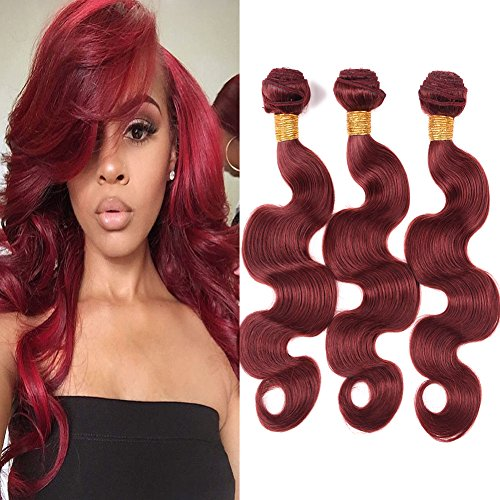 Black Rose Hair 8A Unprocessed Brazilian Virgin Hair Body Wave 3 Bundles 16 18 20 Inch Color 33# Auburn 100% Remy Human Hair extension Weaves Factory Price (95-100g/piece)