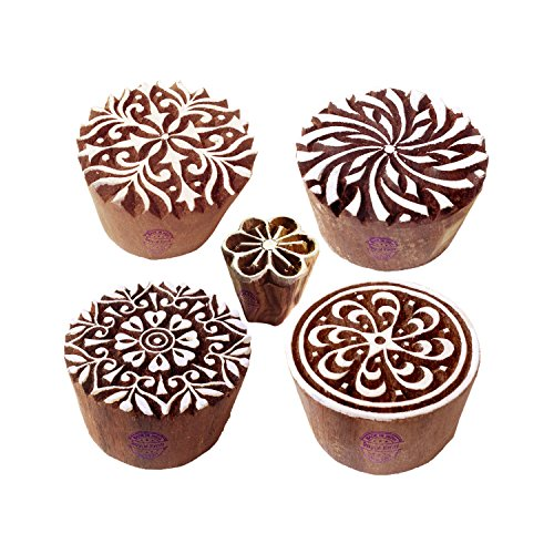 Paper Printing Stamps Trendy Round Floral Design Wood Blocks (Set of 5)