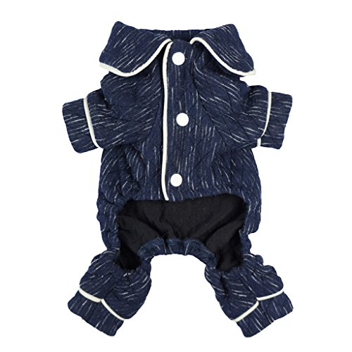 51lhirpzaDL - Fitwarm Stylish Dog Pajamas Pet Clothes PJS Coat Jumpsuit Soft Thick Warm Cotton Blue