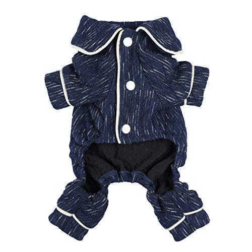 (Fitwarm Stylish Dog Pajamas Pet Clothes PJS Coat Jumpsuit Soft Thick Warm Cotton Blue XL)