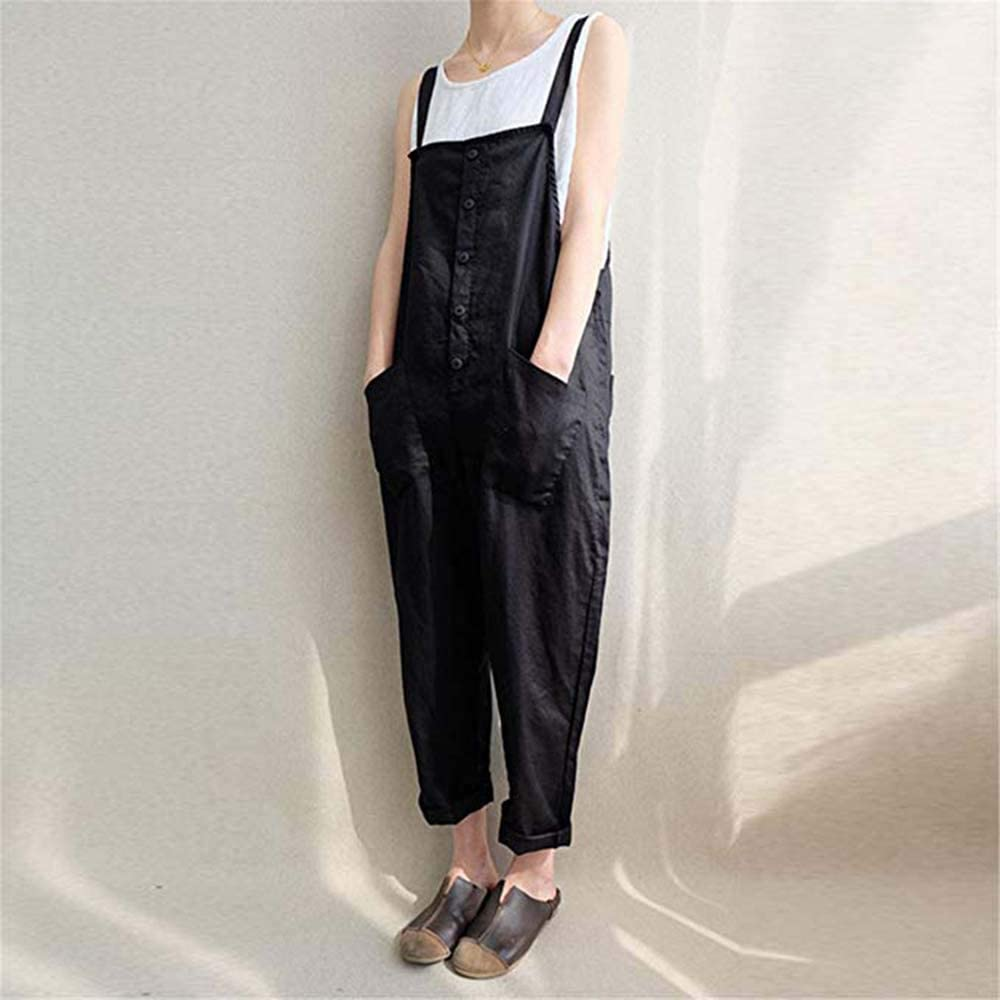 Xiarookp Womens Strappy Jumpsuits Overalls Casual Harem Pants Wide Leg Low Crotch Loose Trousers