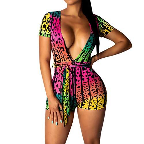 HCFKJ Jumpsuit Women Summer Plus Size Elegant Sexy Casual Romper Print Sleeveless V Neck]()