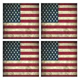 IDO Heat Resistant Placemats for Kitchen Table Mats for Dinning Room,Old American Flag Washable Insulation Non Slip Placemat 12x12 inch Set of 4