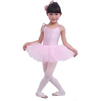 ac3f42947 Panda Superstore  PINK  Lace Up Plain Ballet Dress Lycra Child ...