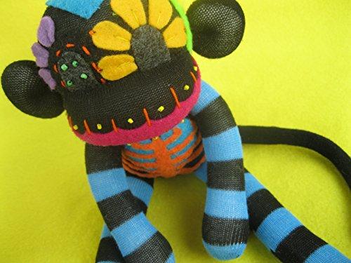 Blue Sugar Skull Sock Monkey DIY Kit - Black Body - Handmade Plush Doll - Dia de los Muertos - Day of the Dead from PumpkinBones