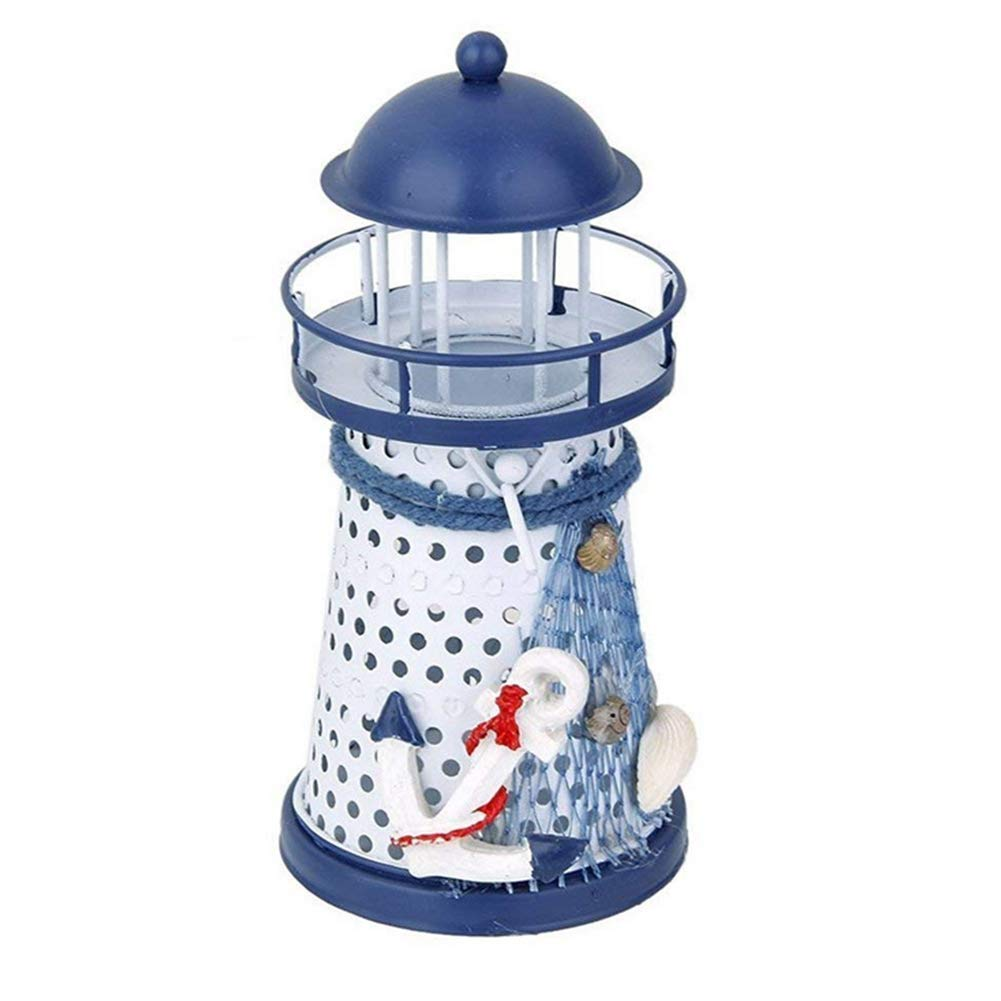 Light House Candle Holder Blue and White Nautical Style Lighthouse with a White Flameless Tealight Random color 1pc Rocita