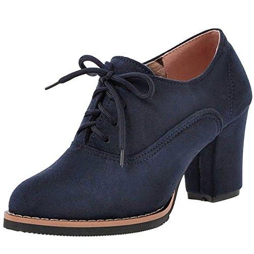 Stringate Stringate Stringate Boots COOLCEPT COOLCEPT COOLCEPT Blocco Stivali Modello Short A Tacco Blue Donna gUwq8nUR0