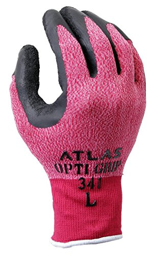 Atlas 341 Opti Grip Latex Dipped Work Gloves - Red - Small Dipped Grip