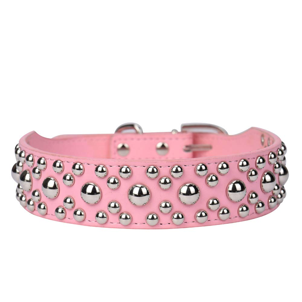 Adjustable Leather Rivet Mushroom Studded Pet Puppy Small Dog Collar Neck Strap Collar Cute Substrate Pet Collar Puppy Choker Cat Necklace Costumes Outdoor Collar Leather Collar Dress Up (Pink, S)