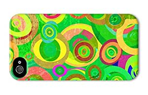 Hipster buy iPhone 4 covers grunge green circles pattern PC 3D for Apple iPhone 4/4S