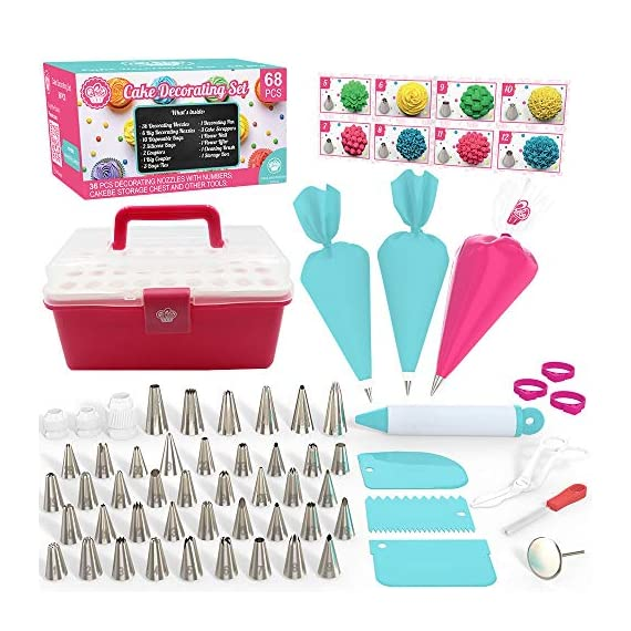 Cake Decorating Kit Cupcake Decorating Kit - 68pcs Cookie Decorating Supplies and Cookie Decorating Kit with Piping Bags and Tips - Frosting Icing Tips Pastry Bags with Tips - Baking Decorating Kit 1 ✅ NEW CAKE DECORATING KIT: Looking for a fresh and stylish cake decorating kit? This icing piping set has every cake decorating tools for expert cake decoration all in one set and something new - Cake Decorating Storage Chest with piping tips Smart Holder! ✅ STYLISH CAKE DECORATING SUPPLIES: Anyone can create professional-looking cakes with these high-quality cake decorating supplies! This cupcake decorating kit includes 36 numbered stainless steel icing tips with Pattern Chart and Extra-Durable 10 pcs icing bags and 2 reusable piping bags. ✅ ICING PIPING SET FOR BEGINNERS: Our cookie decorating kit is designed   to   help   you   create   your   own   decorative   masterpieces   of   all   shapes and   sizes , no matter what your    skill   level may be.   No decorating experience needed!
