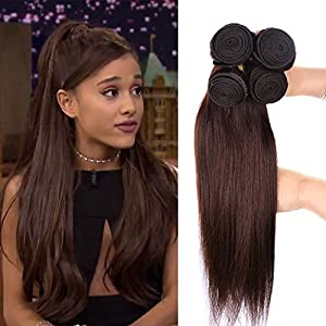 "Black Rose Hair 2# Hair Weaves Light Chocolate Brown Human Hair 4 Bundles Peruvian Pure Color Silky Straight Hair Wefts(2# Dark Brown, 10"" 10"" 12"" 12"")"