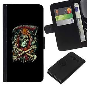 // PHONE CASE GIFT // Moda Estuche Funda de Cuero Billetera Tarjeta de crédito dinero bolsa Cubierta de proteccion Caso Samsung Galaxy A3 / Grim Reaper - Goth Skeleton /