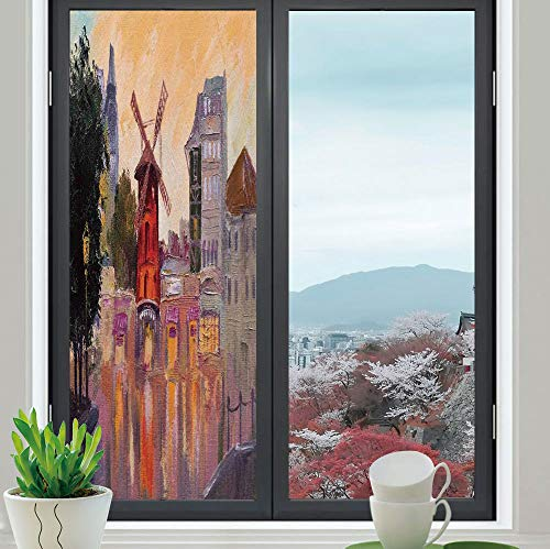 - YOLIYANA Frosted Window Film Stained Glass Window Film,Cityscape,Work Well in The Bathroom,Painting of Moulin Rouge in Paris City Centre,24''x70''