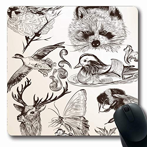 Ahawoso Mousepad for Computer Notebook Butterfly High Detailed Vintage Natural Bee Deer Drawn Filigree Design Dug Oblong Shape 7.9 x 9.5 Inches Non-Slip Gaming Mouse Pad