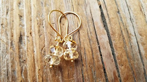 Citrine and 24k Gold Vermeil Earrings - Gold Citrine Pierced Earrings