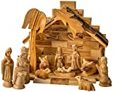 Earthwood Olive Wood Stable and Nativity Set with Traditional Figures
