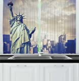 Ambesonne Usa Decor Kitchen Curtains, Urban Decor Design Statue of Liberty with New York in the Background Digital Image, Window Drapes 2 Panels Set for Kitchen Cafe, 55W X 39L Inches, Beige Review