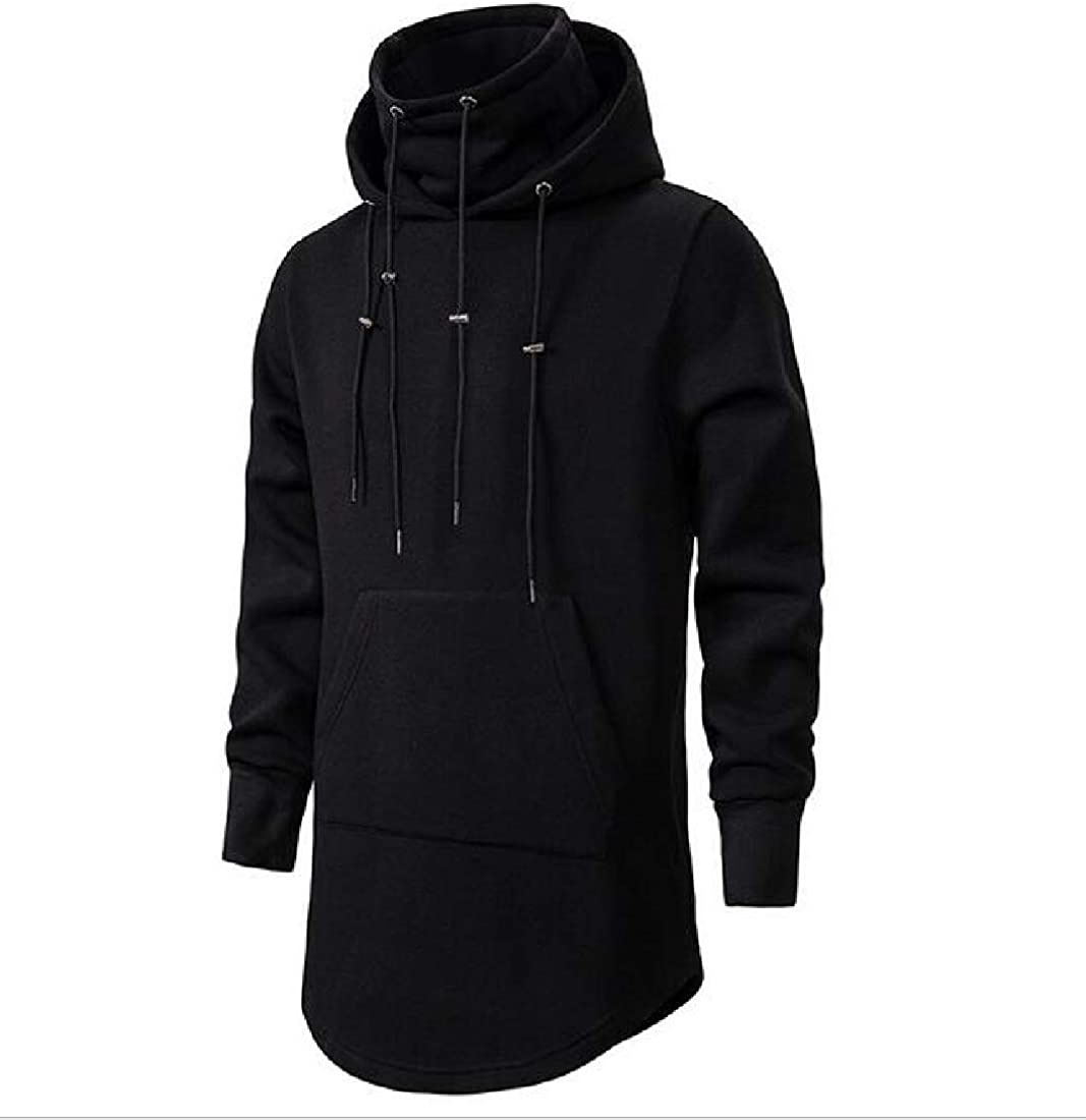 RRINSINS Mens Casual Pullover Long Sleeve Hooded Drawstring Mid Length Warm Pocket Loose Sweatshirt
