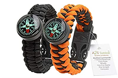 A2S Paracord Bracelet Survival Gear Kit Colorful Everest Series with built-in New Type Compass, Fire Starter, Emergency Knife & Whistle - Pack of 2 - Quick Release Buckles - Lightweight & Durable