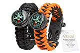 A2S-Paracord-Bracelet-Survival-Gear-Kit-Colorful-Everest-Series-with-built-in-New-Type-Compass-Fire-Starter-Emergency-Knife-Whistle--Pack-of-2-Quick-Release-Buckles--Lightweight-Durable
