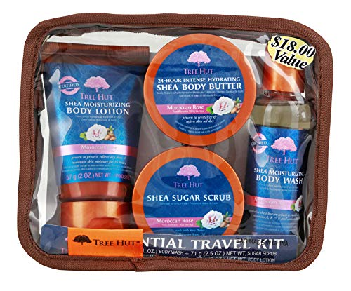 - Tree Hut Essential Travel Kit, Moroccan Rose, 4 Items in One Bag, for Nourishing Essential Body Care on The Go!