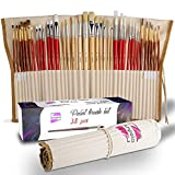 Paint Brushes 38 pcs for Watercolor Oil Acrylic Gouache Painting Paint Brush Set with Professional Wood Handle for Artists Kids Adults
