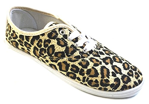 - Shoes 18 Womens Canvas Shoes Lace up Sneakers 18 Colors Available (5 B(M) US, Leopard 324)
