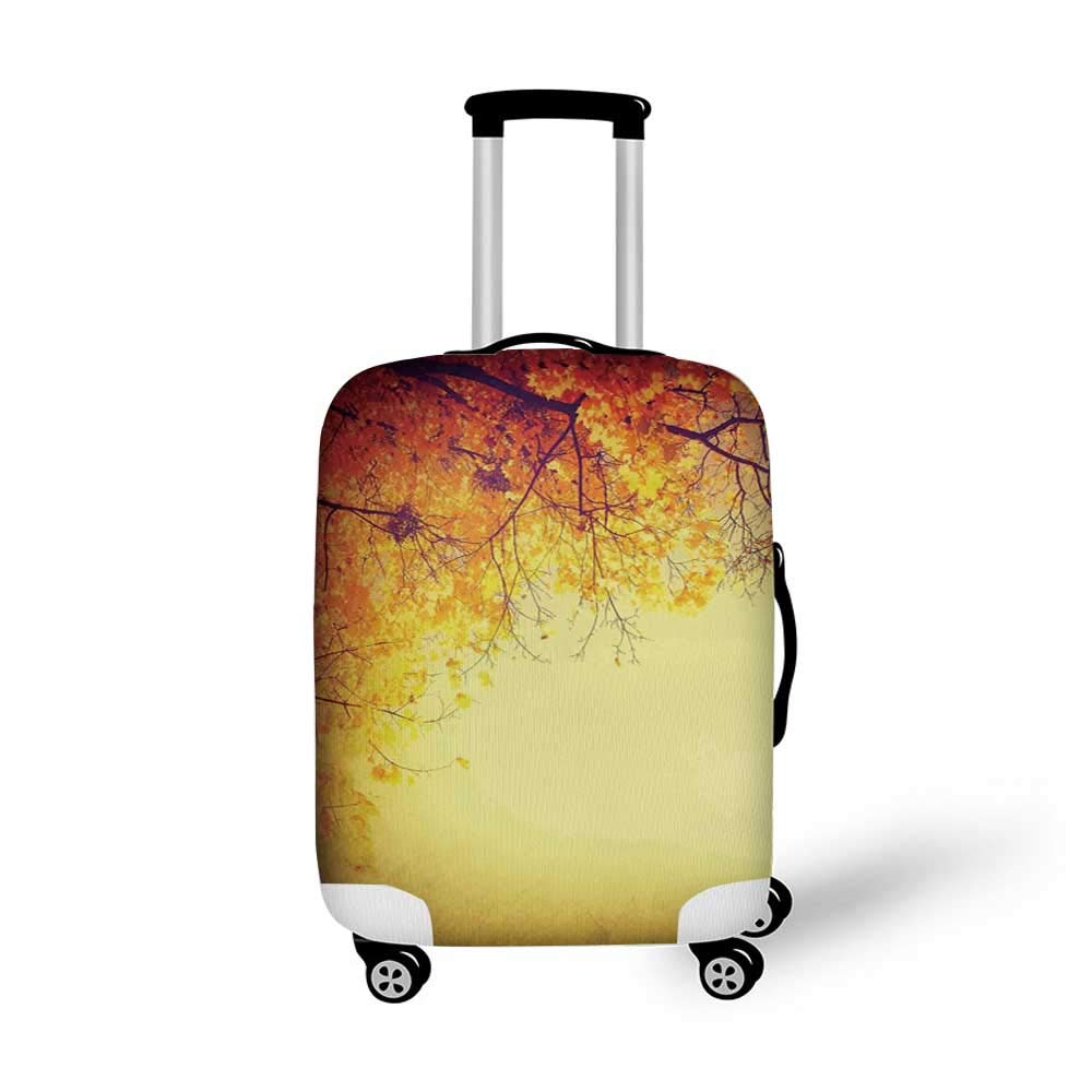 Leaves Stylish Luggage Cover,Two Different Fall Tree in Distinctive Color in Watercolors Design Woodland Boho for Luggage,M 19.6W x 28.9H