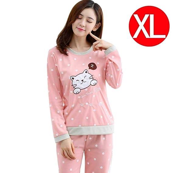 (Inicio Primavera y Otoño Invierno Coreano Dulce Leche Seda Confort Dot Cat  Pijamas Home Service Set Mujeres  Amazon.es  Ropa y accesorios 457ca2ed16e9