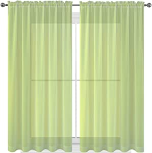 "WPM WORLD PRODUCTS MART Drape/Panels/Scarves/Treatment Beautiful Sheer Voile Window Elegance Curtains Scarf for Bedroom & Kitchen Fully Stitched and Hemmed (Sage, 63"" Inch Long)"