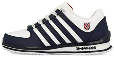 7780967ce45d9 K. Swiss Rinzler SP White Blue Red Mens Leather Trainers: Amazon.co ...