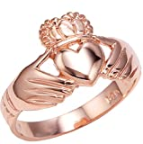High Polish 10k Rose Gold Claddagh Ring (Size 6.75)