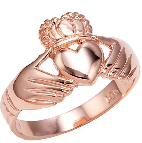 High Polish 10k Rose Gold Claddagh Ring (Size 8)
