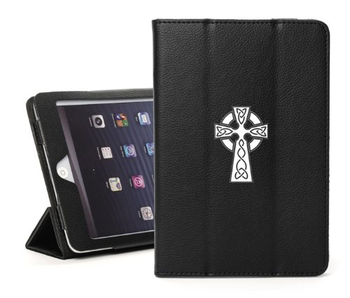 The New iPad 4 4G 3 3rd 2 2nd Gen Black Faux Leather Magnetic Smart Case Cover Stand Celtic Cross