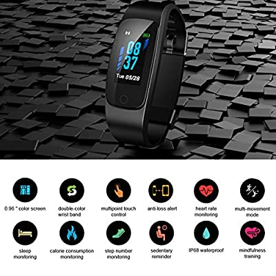 Updated 2019 Version High-End Fitness Tracker HR, Activity Trackers Health Exercise Watch with Heart Rate and Sleep Monitor, Smart Band Calorie Counter, Step Counter, Pedometer Walking for Men & Women by SKYGRAND