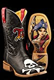 Tin Haul Men's Skull And Crossbones Anchor Girl Cowboy Boot Square Toe