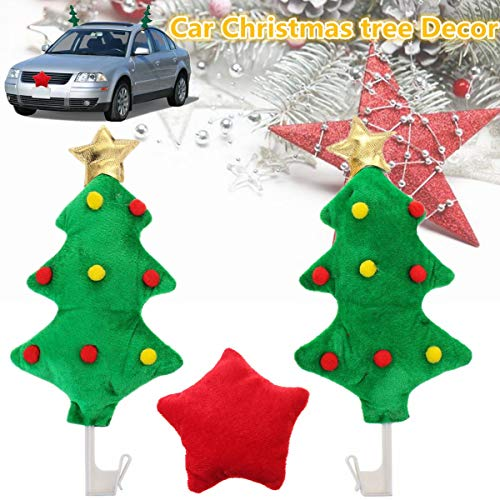 2x Car Christmas Tree Decoration Red Star Style Ornament Auto Costume Christmas -