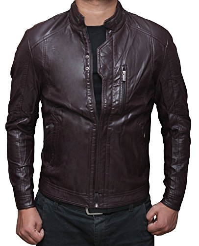 Mens Brown Leather Motorcycle Jacket M