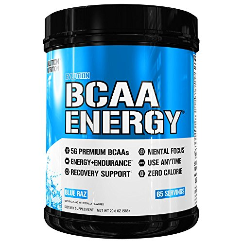 Evlution Nutrition BCAA Energy – High Performance, Energizing Amino Acid Supplement for Muscle Building, Recovery, and Endurance, Blue Raz 65 Servings
