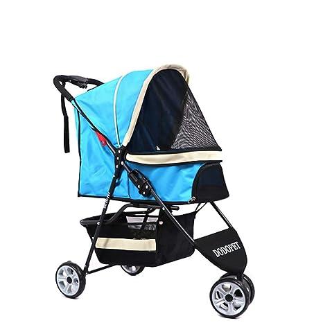 Lihuaa Cochecito para Mascotas Entrada con Cremallera De 3 Ruedas Parrilla Reversible Portador del Carro Estabilizador