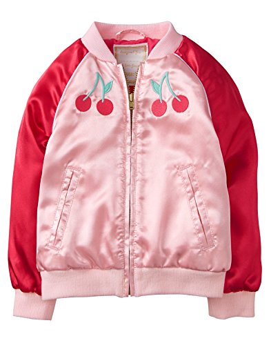 Gymboree Toddler Girls' Long Sleeve Zip Satin Bomber Jacket, Pink Cherry, - Long Sleeve Girl Outerwear