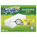 Swiffer Sweeper Dry Sweeping Cloths Mop and Broom Floor Cleaner Refills, Febreze Lavender Vanilla and Comfort Scent, 16 Count, White