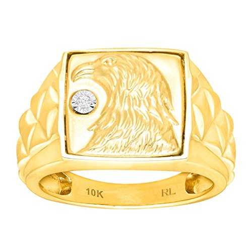 Men's Eagle Ring with Diamond in 10K Gold Size 8 (10k Eagle Ring)