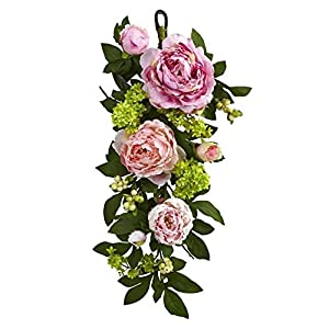 Nearly Natural 4540 24in. Mixed Peony & Hydrangea Teardrop Garlands Pink 117