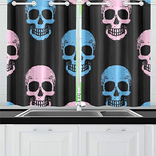 YUMOING Hand Drawn Skulls Kitchen Curtains Window Curtain Tiers for Café, Bath, Laundry, Living Room Bedroom 26 X 39 Inch 2 Pieces